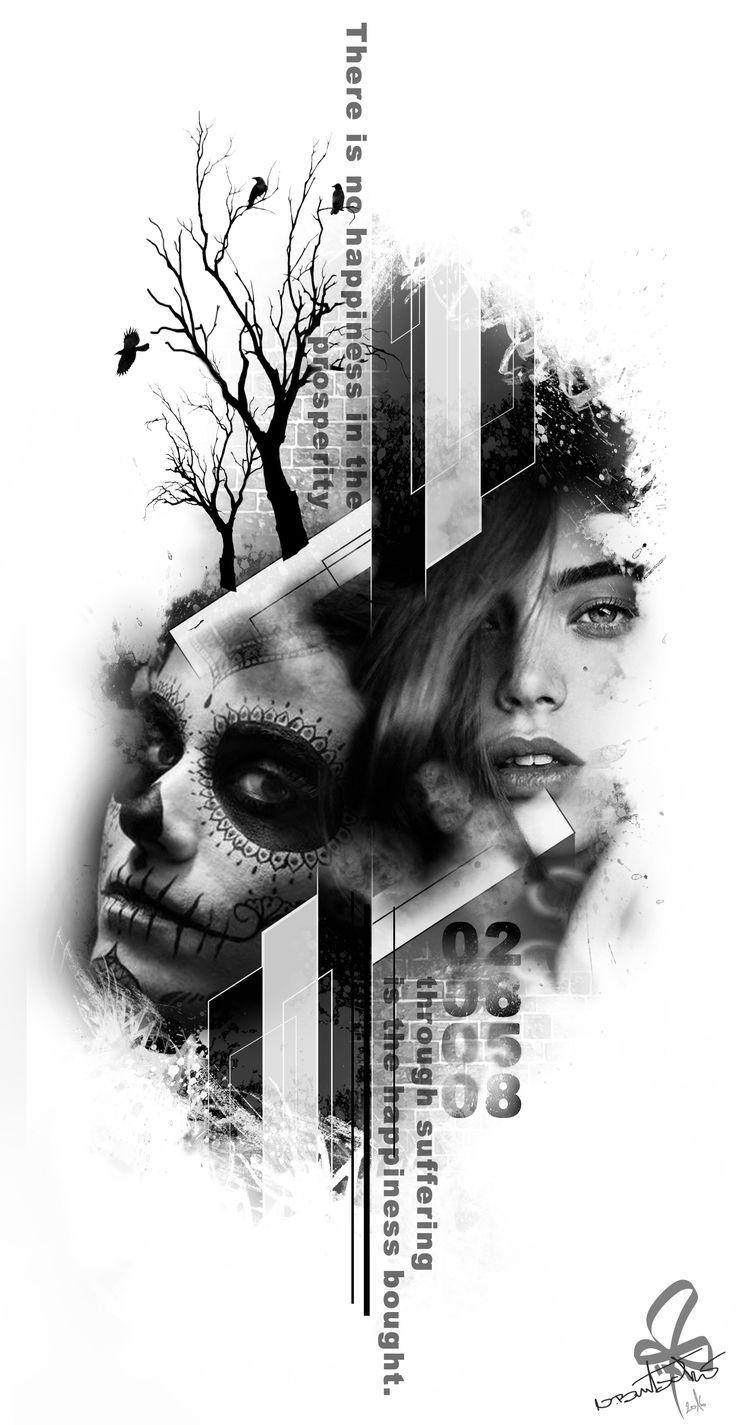 Photoshop, Tattoo, la catrina, Woman, Tree, Burtscher N.