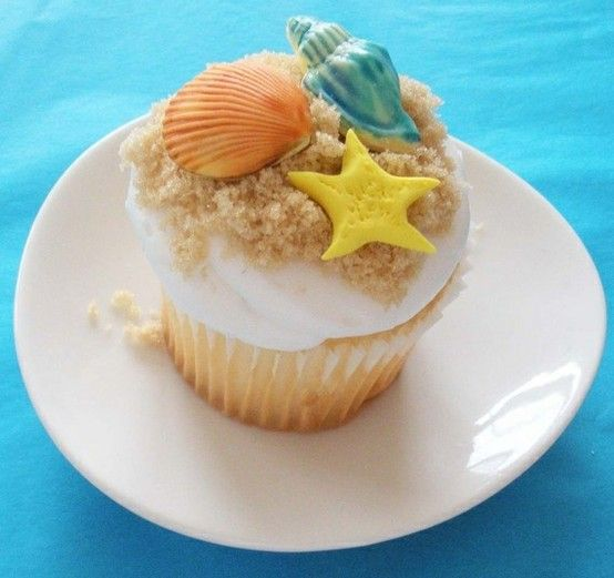 Beach Cupcake Fondant Toppers - Click image to find more Food & Drink Pinterest pins