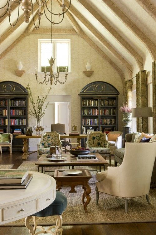 French country elegant cottage. Beautiful Living Area of a Barn Renovation. I can imagine spending many tranquil hours in this space, being inspired.