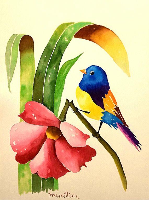 Original Watercolor Painting Birds Oops Bird Art Bird Painting