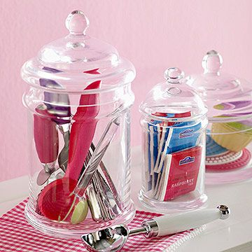 Glass Organizers - Bathroom organization for q-tips, cotton balls, etc. Etched glass labels?
