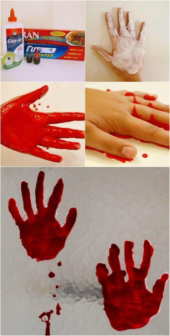 DIY hand print Bloody Window Clings                                                                                                                                                                                 Mehr