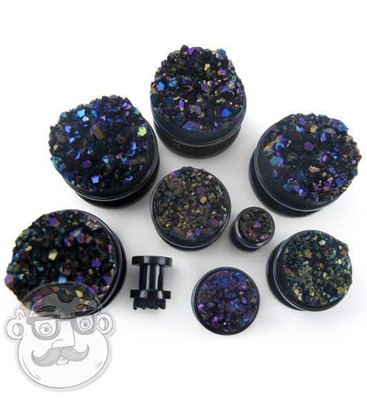 Black Steel Plugs With Cosmic Druzy Stone Inlay