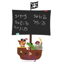 Krijtbordsticker Vrolijke Piraten XL   Kids Decoshop