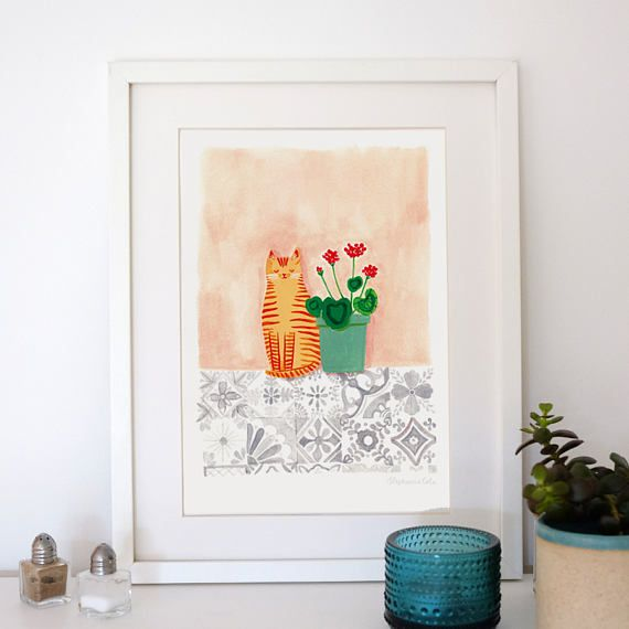 A4 Giclee print: Cat with Geraniums on tiles illustration by Stephanie Cole DESIGN 2017 #ihavethisthingwithfloors