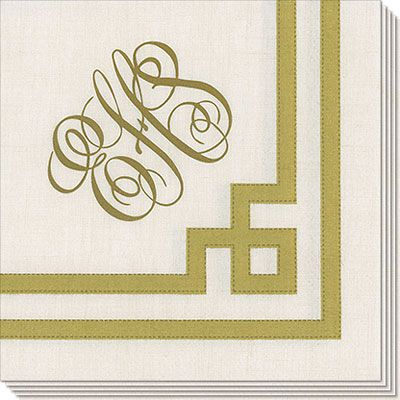 Gold and White Greek Key Caspari Napkins