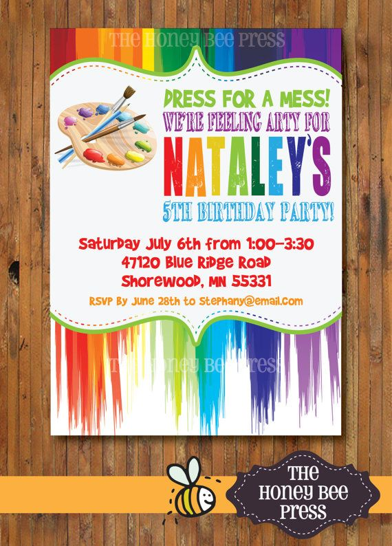 art party invitation birthday party invitation dress for a mess