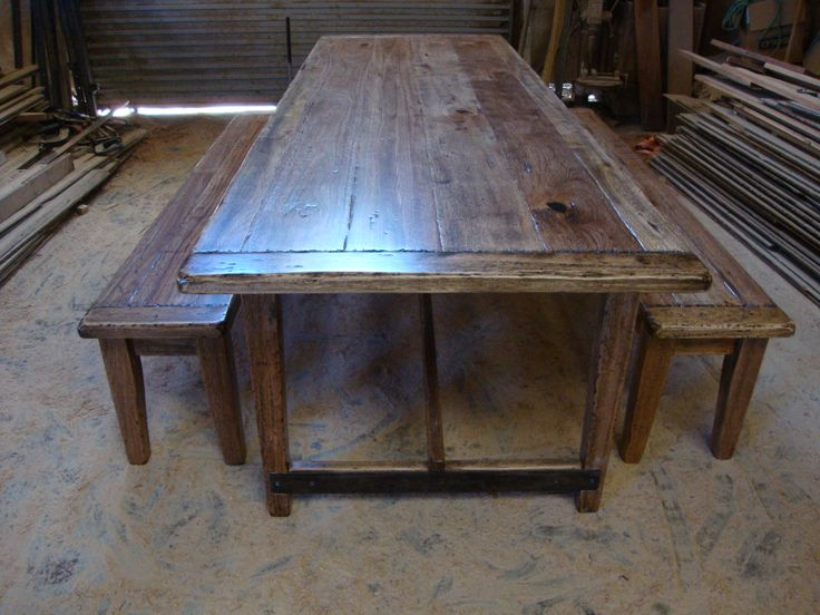 Australian hardwood Handmade dinning Table with Iron details By Christoper Bennell. Buy direct from only $2150 for the setting. 02 4632 7699