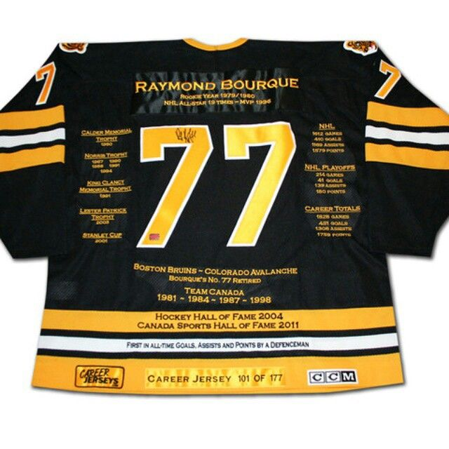Ray bourque career jersey limited edition of 177   HAPPY BIRTHDAY RAY BOURQUE!  NHL Great Ray Bourque Turns 54 Today!  In celebration of his birthday, we are offering you the chance to Own a Piece of NHL History for ONLY $700! You get a Limited Edition Ray Bourque Career Jersey.  Retail value of $2000 -- For only $700!  This is a perfect purchase, great for a Holiday Gift, Bruins Fan and an Hockey Collector.  Contact us NOW on our Facebook page Autograph Authentic. Limited Supply. Offer ends…