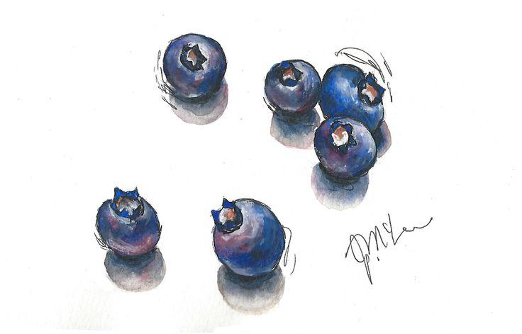 Blueberries painted using Winsor & Newton French Ultramarine, Alizarin Crimson & Burnt Sienna