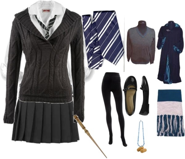 """Ravenclaw Outfit"" by lauren-elle ❤ liked on Polyvore. Would be great for a Luna Lovegood costume!"