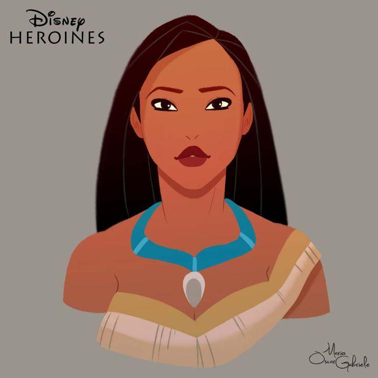 disney-ilustrações-retratos-heroínas-pocahontas