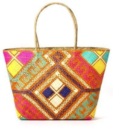 Hand-woven and embroidered Aztec Tote with Zip. perfect for the beach, running errands, or carrying your daily necessities. Lined with batik fabric. Available from www.bohemianliving.com.au
