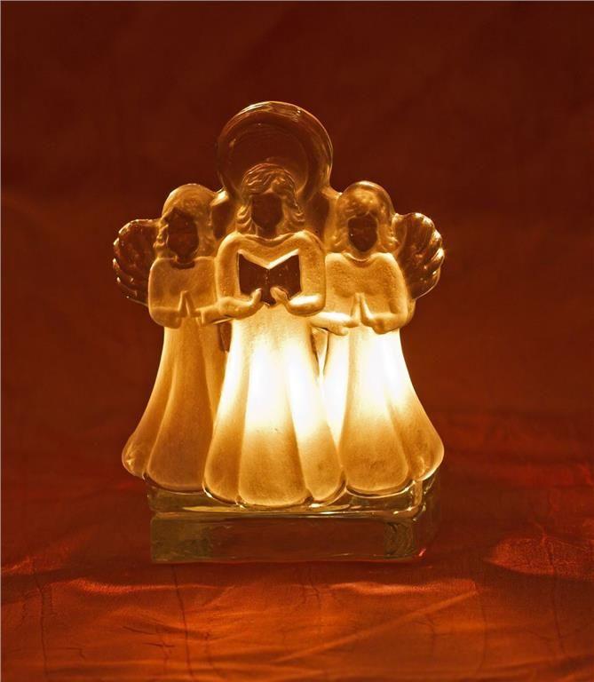 Ljuslykta i glas, änglar, Nybro glasbruk