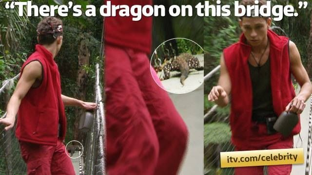 "Joey Essex, I'm A Celebrity ""oh my god there's a dragon on this bridge"""