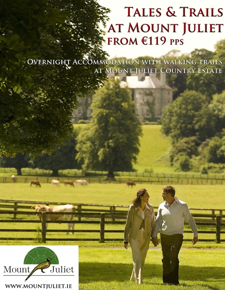 Enjoy 2 Nights Bed & Breakfast, a guided Tour of Mount Juliet Estate and enjoy the 5 walking trails in the grounds Mount Juliet  Book at http://fe.avvio.com/convert/site/Mount%20Juliet/en/rate/18644.html