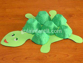Tortuga con hueveras manualidad de reciclaje manualidades - Manualidades con hueveras ...