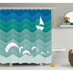 Nautical Decor Shower Curtain Set, Nautical Theme With Paper Boat Sea Happy Dolphins Underwater Sea Animals, Bathroom Accessories, 69W X 70L Inches, By Ambesonne