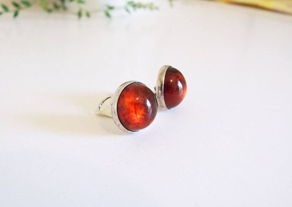 NIELS ERIK FROM Danish Modernist Silver Amber Earrings // Clip