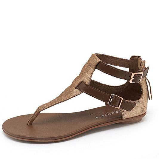 Emu Hovea Leather Metallic Suede Toepost Sandal order online at QVCUK.com