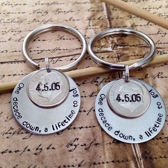 His and Hers Matching Couples 10 Year Anniversary Custom Hand Stamped Dime Keychains, Personalized Gift for Him Her, Wedding Date, 10th Year