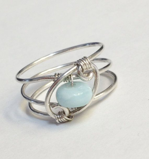Larimar Ring  Larimar Jewelry  Sterling Rings by SpiralsandSpice, $28.95