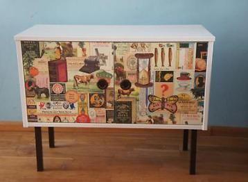 Decoupage dressoir in vintage stijl