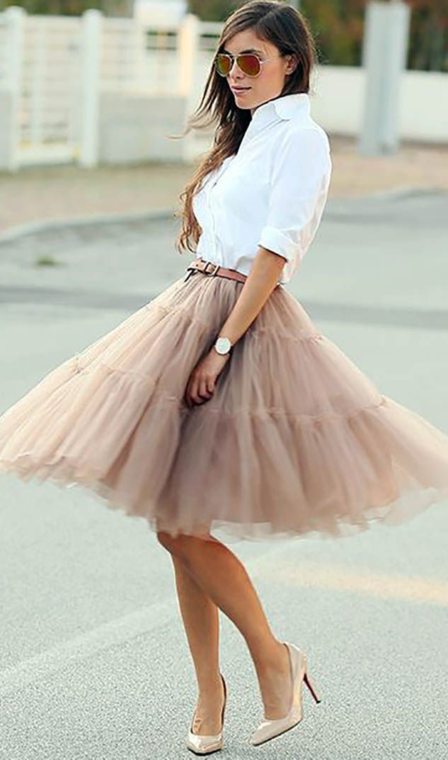 Blush Tulle Skirt + Nude Shoes | #justjune