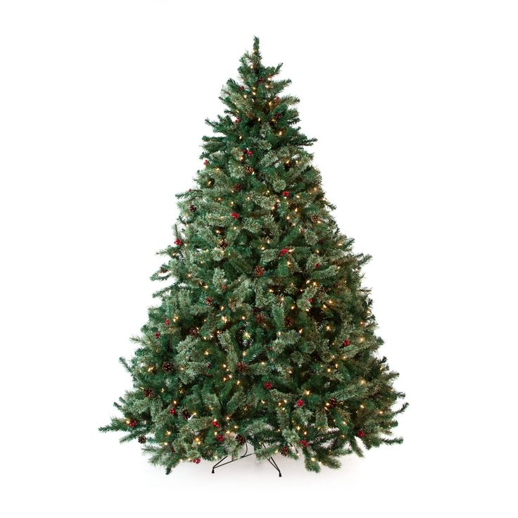 Have to have it. Classic Full Pre-lit Christmas Tree with Berries and Pine Cones - 7.5 ft. - Clear $249.99