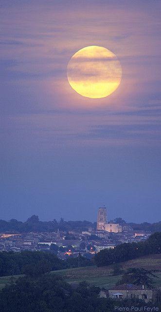 Moonrise over Lectoure, Midi-Pyrénées ,France