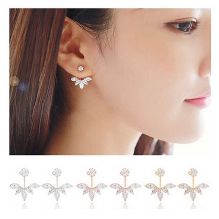 Pameng Crystal Ear Jacket Stud Earrings for Women Jewelry Double Sided Leaf Ear Earring Boucle Oreille 0520
