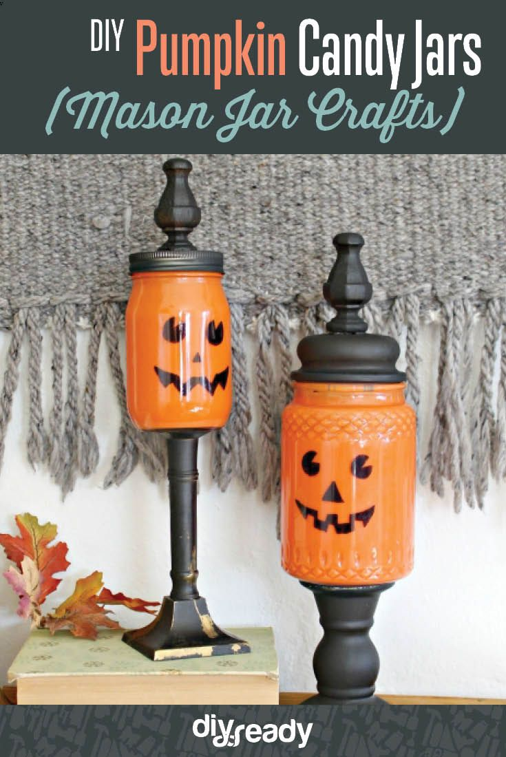 pumpkin mason jar crafts, see more at http://diyready.com/mason-jar-crafts-pumpkin-candy-jars