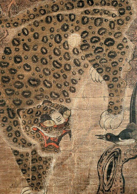 slickwhippet: mzteeeyed: Tiger and Magpie (Korean folk painting) (via blueruins)