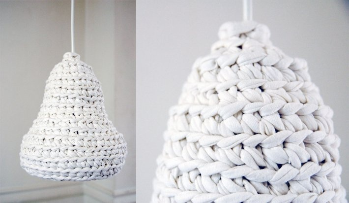 snowdrop. crochet pendant lamp. made from hand-cutted ...