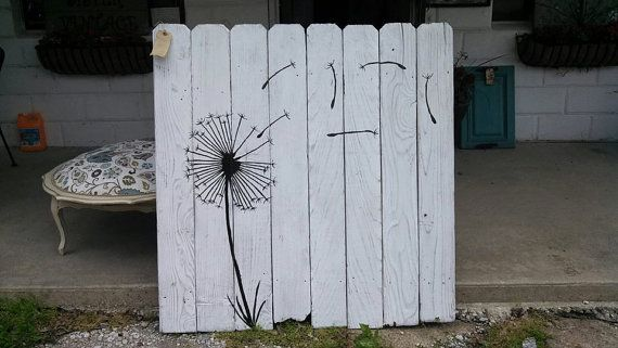 Fence wood dandelion painting by Inspiremehomedecor on Etsy