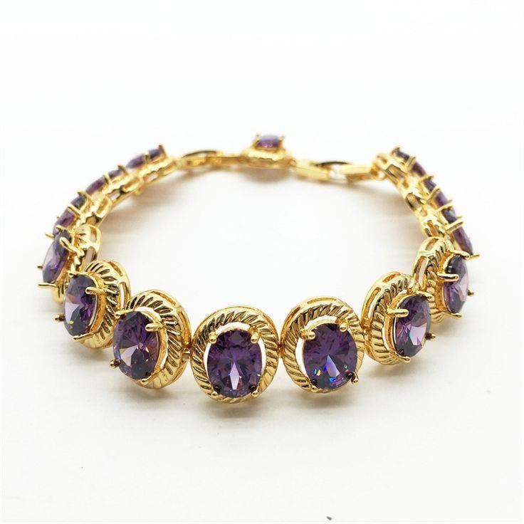 Teemi горячая новинка яйцо форма AAA фиолетовый цирконий теннисные браслеты для женщин роскошные свадебные браслет подарок ювелирные изделия