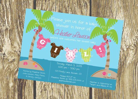 Attractive Beach Baby   Baby Shower Invitations (Baby Girl), DIY Printable, Digital  File