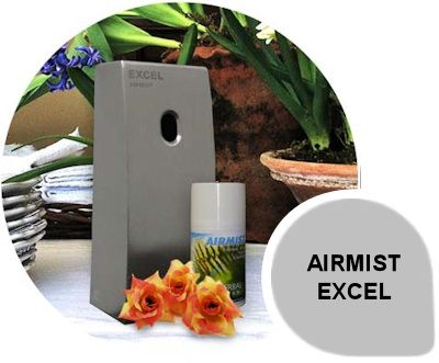 Airmist - Excel: Airmist fragrance dispenser available in 270ml with programmable features which include real time programmability, service frequency setting, on and off days, alarm features and a battery indicator.