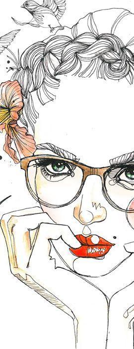 "Art by Alina Grinpauka. - The woman with glasses and the hummingbird. - Board ""Art-Alina Grinpauka"". -"