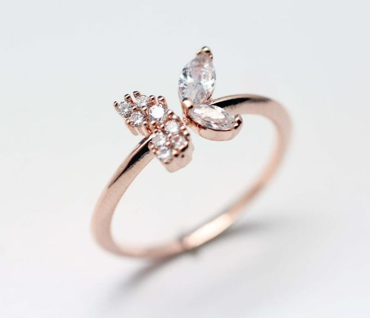 Butterfly Statement ring detailed in CZ crystal