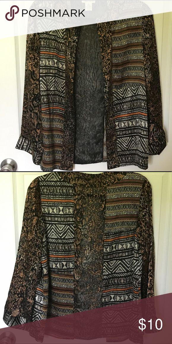 Laura Ashley tribal print cardigan size small Super cute tribal print sheer cardigan size small by Laura Ashley Laura Ashley Jackets & Coats Blazers