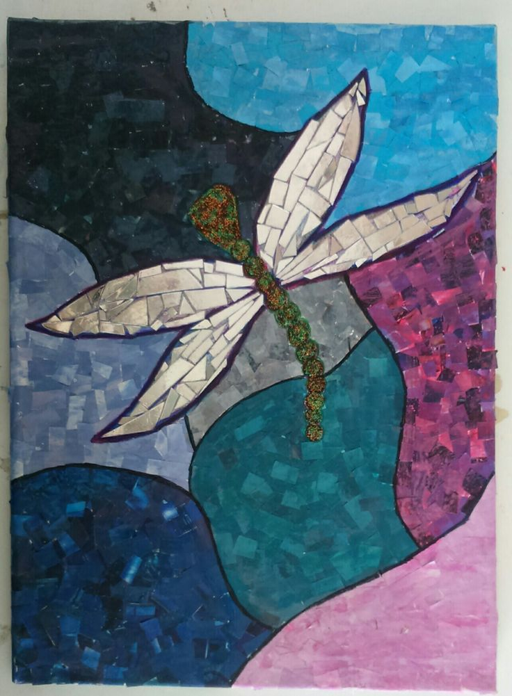 Mixed media canvas art- Dragonfly....DIY canvas made from paper and broken CDs.