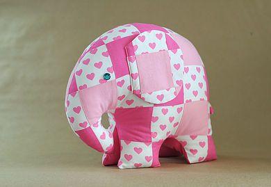 Patchwork elephant softie toy