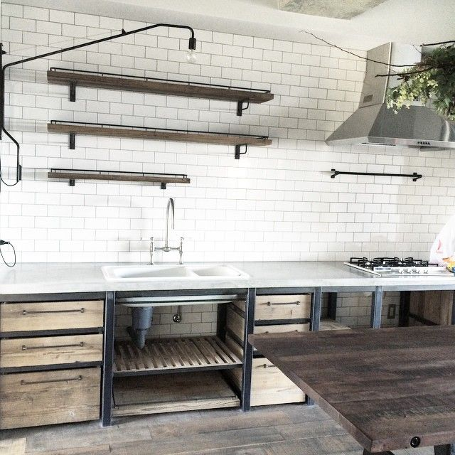 industrial kitchen with open shelves