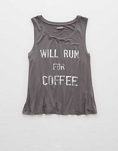 "For when your motto is ""Will run for coffee"", try our Graphic Swing Tank."