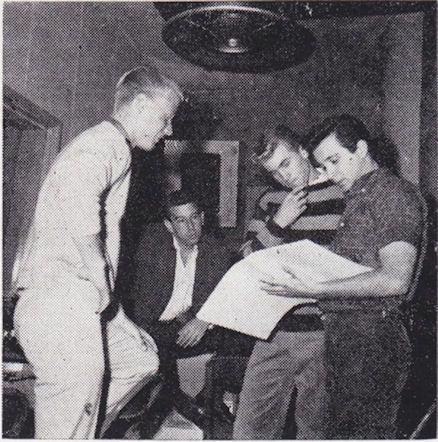 In the studio...recording. L-R Dean Torrence (far left),  Lou Adler (seated), Jan Berry (stripe shirt), Herb Alpert (far right)....1961
