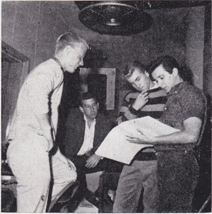 In the studio...recording. L-R Dean Torrence (far left),  Lou Adler (seated), Jan Berry (stripe shirt), Herb Alpert (far right)....1961