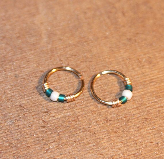 small cartilage earrings teal white beaded nose ring