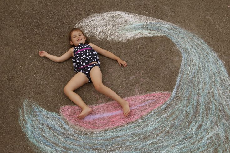 Sidewalk Chalk Props: Creative Photos Of Kids As Part Of Chalk Art surfer kids would make great father's day pic!