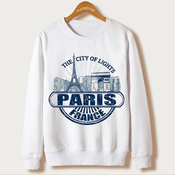 Paris Eiffel Tower Print Autumn 2016 Sweatshirts Women Long Sleeve White Tracksuits Hoodies Femme Fashion Clothing Chandal Mujer